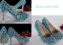 High Heel Luxurious Rhinestone Bridal Dress Shoes Beautiful Fashion Blue Wedding Shoes for woman Lady Formal Shoes