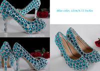 High Heel Luxurious Rhinestone Bridal Dress Shoes Beautiful Fashion Blue Wedding Shoes for woman Lady Formal Shoes