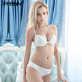 TAINY Europa Novo Sólido Brilhante Mulheres Lingerie Sem Costura V Profundo Sexy Bra Sets Breve