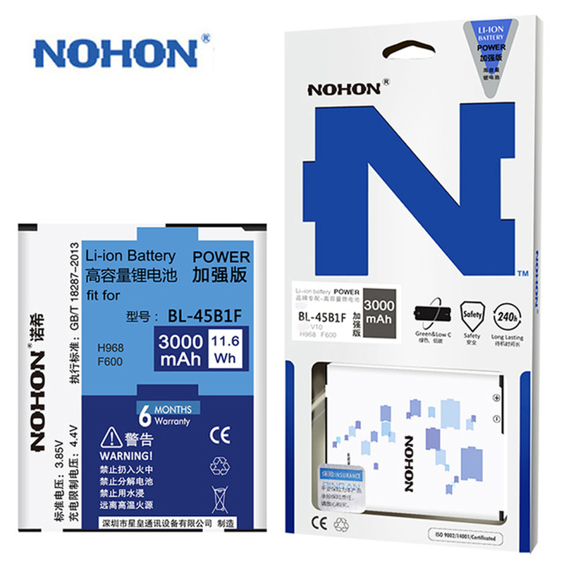Original NOHON For <font><b>LG</b></font> G3 G4 G5 V10 Google Nexus <font><b>4</b></font> <font><b>Battery</b></font> BL-53YH BL-51YF BL-42D1F BL-45B1F BL-T5 Real High Capacity Bateria image