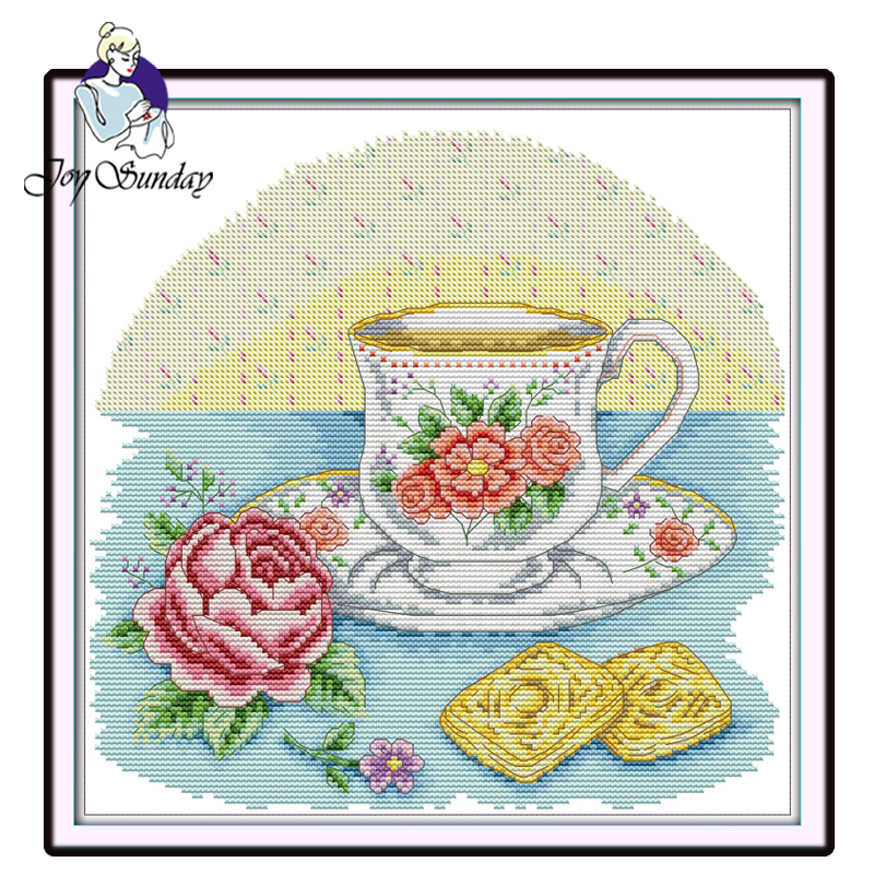 Joy Sunday,Afternoon tea time,Chinese cross stitch embroidery set,printing cloth kit,cross pattern,crossstitch