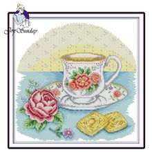 Joy Sunday,Afternoon tea time,Chinese cross stitch embroidery set,printing cloth kit,cross pattern,crossstitch