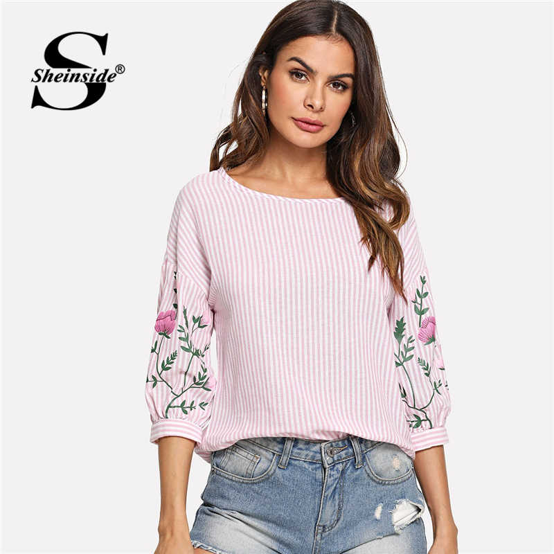 Sheinside Pink Summer Tops For Women 2018 Clothes Flower Print Lantern Sleeve Striped Blouse Beach Ladies Shirts Fashion Blouses