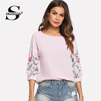 Sheinside Pink Summer Tops For Women Clothes