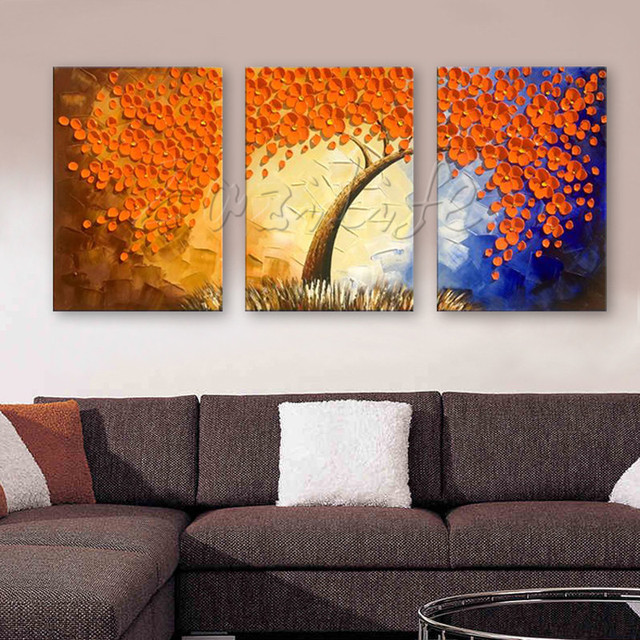 3 Pieces Panel Wall Art Palette Knife Hand Painted Flower Oil Painting On Canvas Pictures For Living Room Blossom