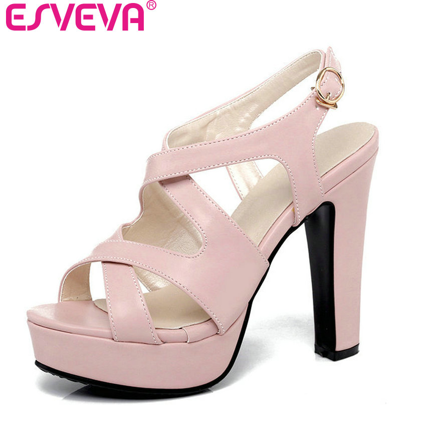 ESVEVA 2017 Pink Thick High Heel Woman Pumps Sexy Peep Toe Gladiator Summer Women Shoes Soft PU Wedding /Dating Shoes Size 34-43 esveva 2017 ankle strap high heel women pumps square heel pointed toe shoes woman wedding shoes genuine leather pumps size 34 39