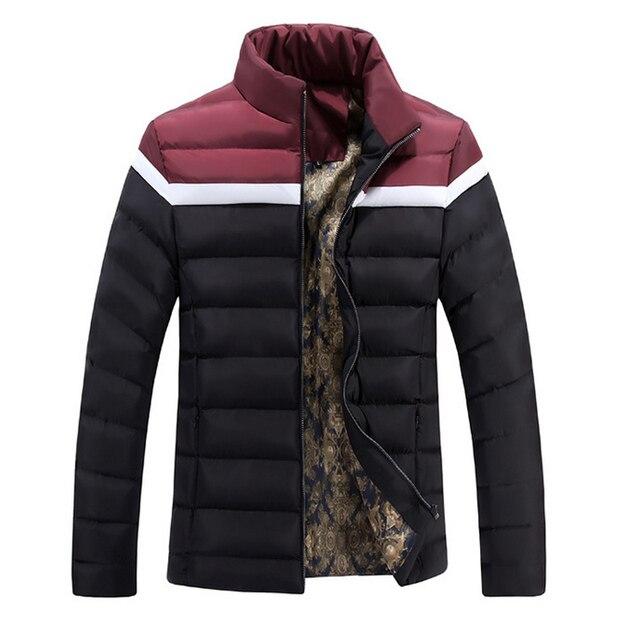 Jaqueta de inverno Parka Dos Homens Splice Homens Da Moda Jaqueta de Inverno 2017 Colarinho Slim Homens Jackets Casaco de Inverno Veste Homme Chaqueta Hombre