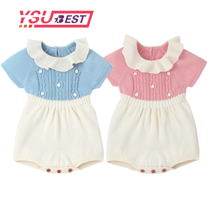 2019 Autumn Newborn Ruffle Princess   Romper   Baby Girls Boys   Romper   Knitted Wool Twisted Overall Jumpsuit Baby Clothes Vest   Romper