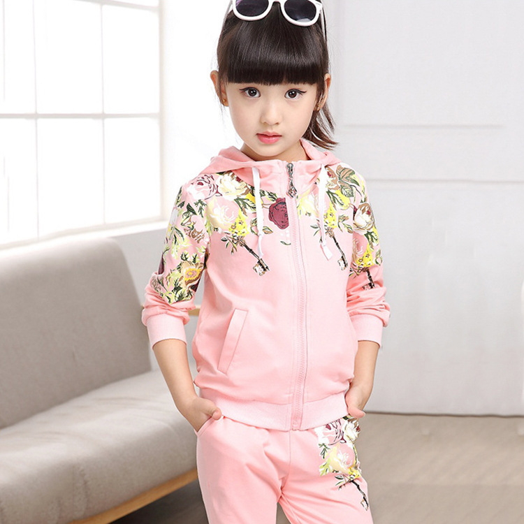 Hot 2017 Spring Baby Girls Clothes Jacket Floral Kids Hoodies+Pants Kids Tracksuit For Girls Clothing Sets Girls Sport Suit P131 2018 spring baby girls clothes jacket floral children hoodies pants kids tracksuit for girls clothing sets girls sport suit 291