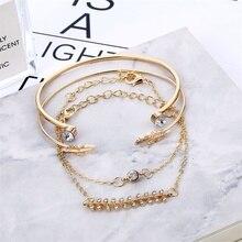 4 Pcs/set Women's Fashion Crystal Chain Gold Bracelet