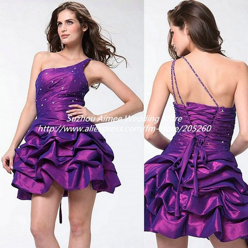 New Arrival Purple Taffeta Ruched One Shoulder Masquerade Ball Prom Dresses  Short Party Dress TLF50Z 8192491a7