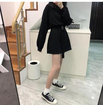 7 colors long sleeve dress women spring autumn korean style dress ladies solid color loose t shirt dress women with belt (X218) 4