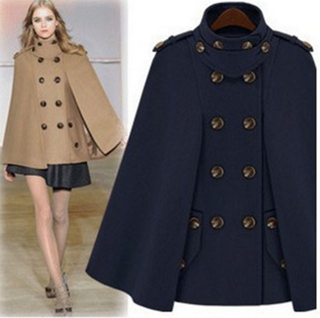 486bceab98a S-XXL 2018 fashion autumn winter double-breasted wool coat stand collar wool  poncho