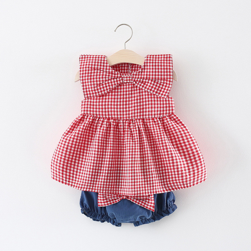 2pcs Baby Girl Dress+PP Pants with Big Bow 2018 New Cotton Baby Girl Clothing Set Summer ...