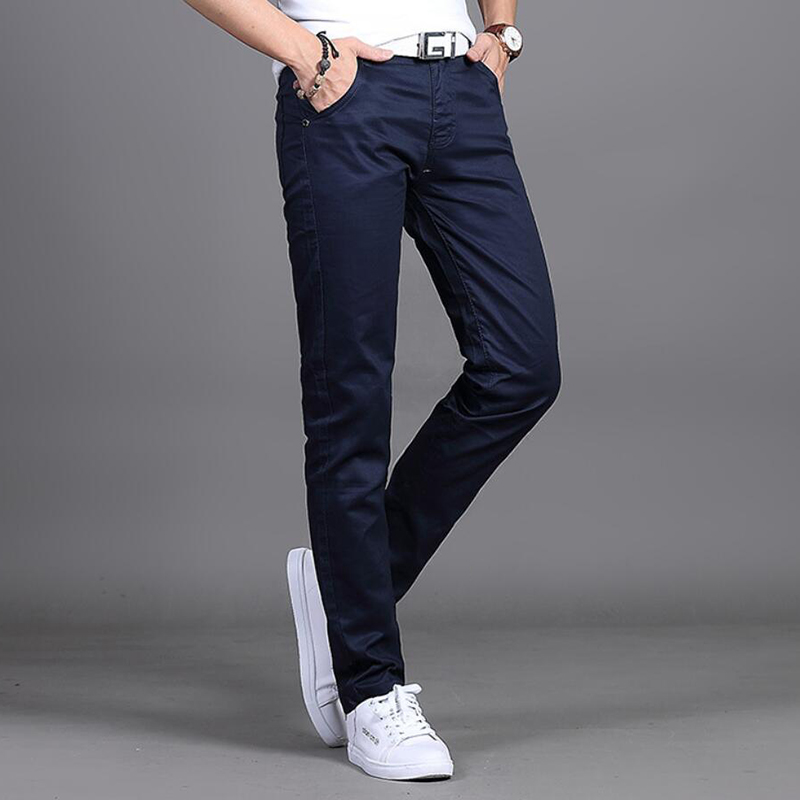 Korean Version Of Casual Cotton Material Solid Color Slim Waist Straight Leg Pants Men's Pants Free Shipping