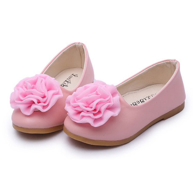 2016 Size 26-30 New arrive children shoes spring autumn PU leather girls shoes fashion flower flat shoes for kids girls