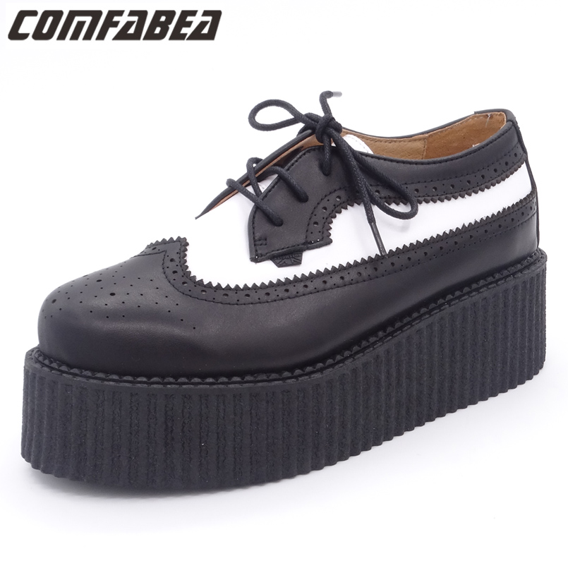 Spring Autumn 2018 Shoes Women Genuine Leather Oxfords Ladies High Quality Oxford Shoes For Women Flat shoes HARAJUKU Creepers top quality genuine leather oxfords for women gold sliver mixed colors female british style spring autumn casual flat shoes