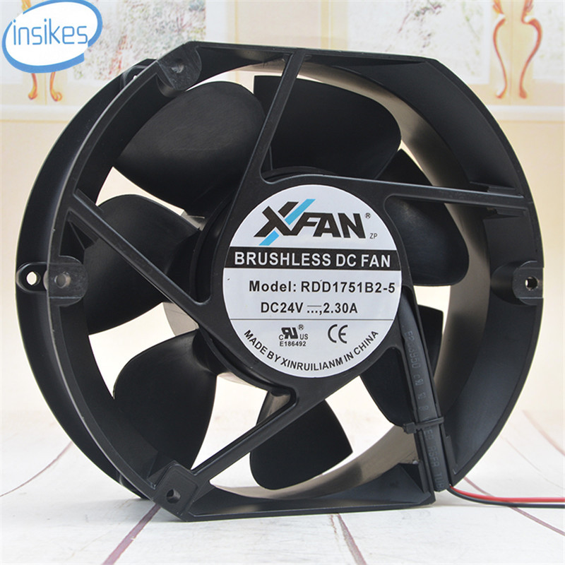 RDD1751B2-5 Axial Cooling Fan DC 24V 2.3A 4200RPM 17251 17cm 172*150*51mm 2 Wires
