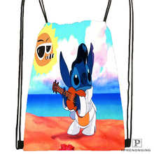 Custom Lilo Stitch Happy 1Drawstring Backpack Bag Cute Daypack Kids Satchel Black Back 31x40cm 180612 02