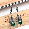 Стерлингового серебра 925 мотаться серьги старинные зеленый агат халцедон с серебро 925 серьги для женщин
