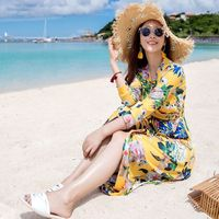 FOLOBE Fashion Womens Long Chiffon Beach Dress Print Yellow Summer Bohemian Dresses Long Dresses Party Prom Vestidos S34