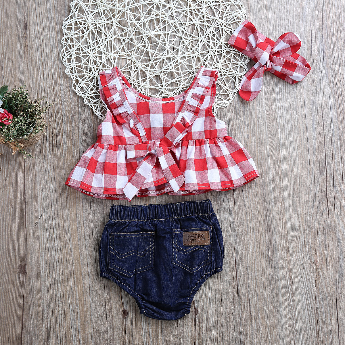 Tops-Sleeveless-Plaid-T-Shirts-Jeans-Shorts-Headband-Kids-Clothing-Outfits-Infant-Kids-Baby-Girls-Clothes-Sets-Outfit-Sleeveless-5