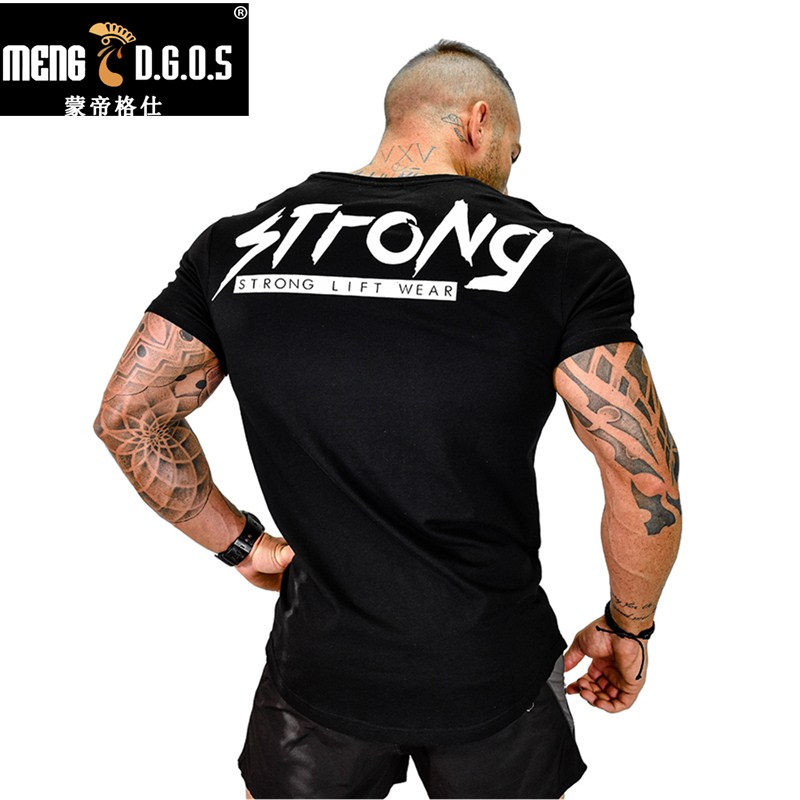 Mens Summer Style Fashion Personality T Shirt Bodybuilding Muscle Male Leisure Short Sleeves