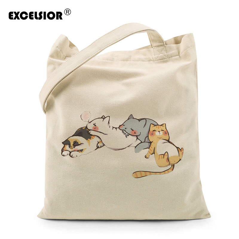 EXCELSIOR Women Canvas Cartoon Cat handbag canvas crossbody bag Female Casual Shoulder Tote Bag sac a main bolsas femininas bao bao fashion fresh floral girls shoulder bags female handbag canvas small crossbody bag for women sac a main bolsas b086