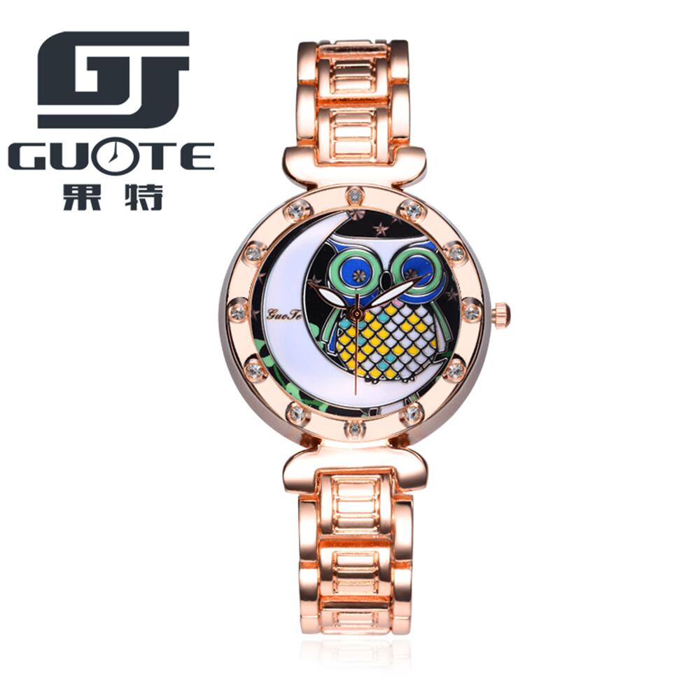 Relogio Feminino Watch Women 2017 GUOTE Brand Casual Quartz Watch Rosy Gold Stainless Steel Women Watches Owl Crystal Clock Hot guote hot gold full stainless steel wristwatch fashion casual quartz watches men luxury brand women dress watch relogio male