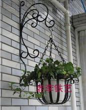 Rustic iron flower stand balcony wall hanging basket diaolan flower flower pot holder