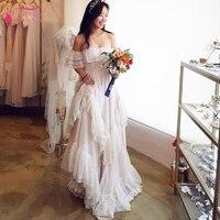White Dot Tulle Wedding Dresses Hippie Style GYPSY Bridal Gowns 2018 Lace Summer Bohemian Vestido De Noiva ZW069