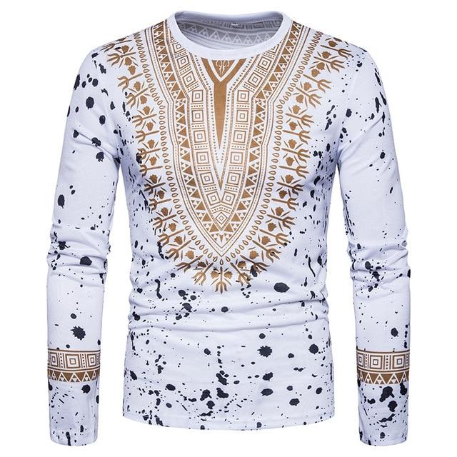 60b85f7a5f2 3D Splash Ink Print T Shirt Men 2018 Traditional African Dashiki T-shirt  Mens Slim Fit Long Sleeve Tee Shirt Homme Camisetas 2XL