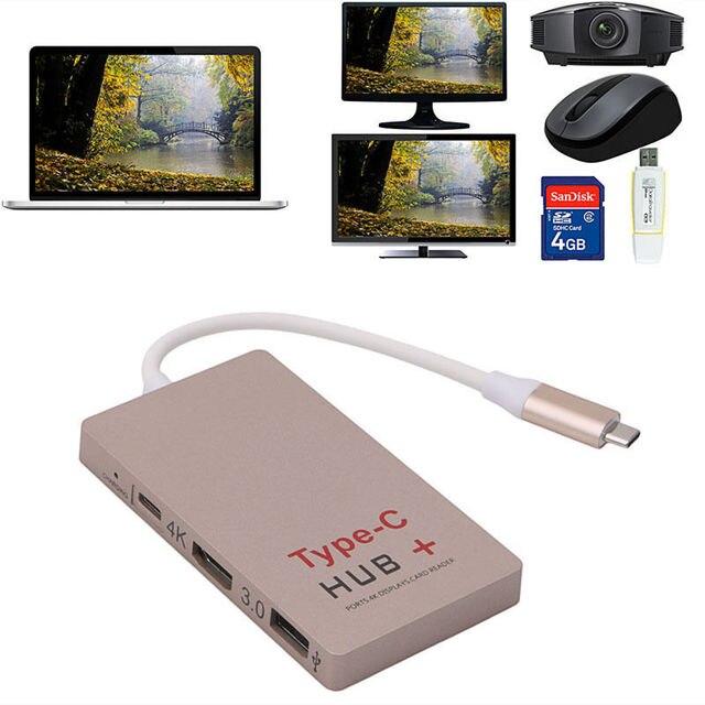 USB 3.1 Tipo C M A 4 K HDMI USB 3.0 HUB Cargador USB-C F Adaptador de Lector de Tarjetas SD