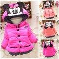 Bebê Roupas das meninas Casaco de Inverno 2016 Novas Crianças Coreanas Casaco Acolchoado Quente Jaqueta Moda Outerwear Crianças Desenho Animado