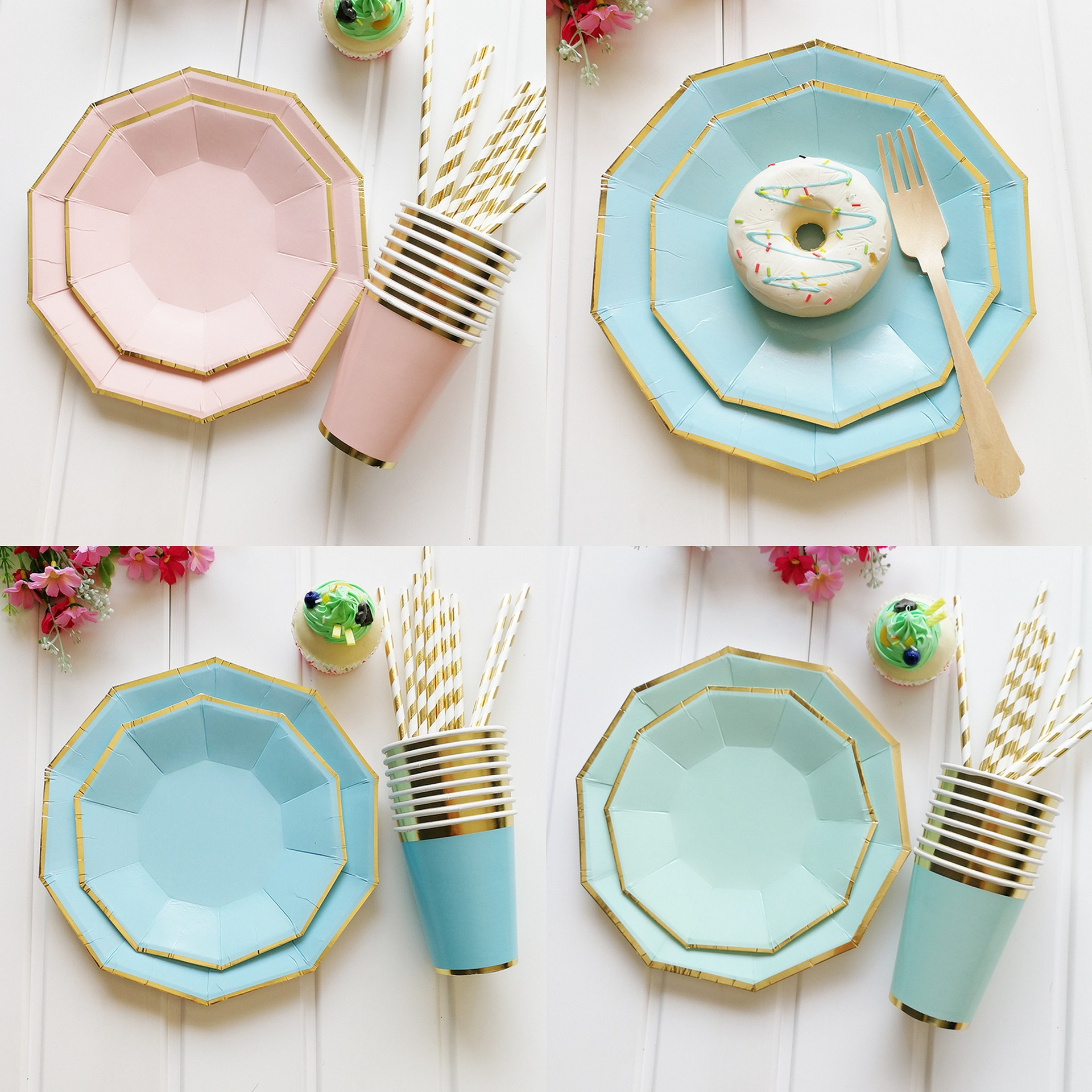49Pcs/set Party Tableware Disposable Paper Plate Cups Straws Kids Birthday Party Wedding Food Grade Party Pink Paper Tableware