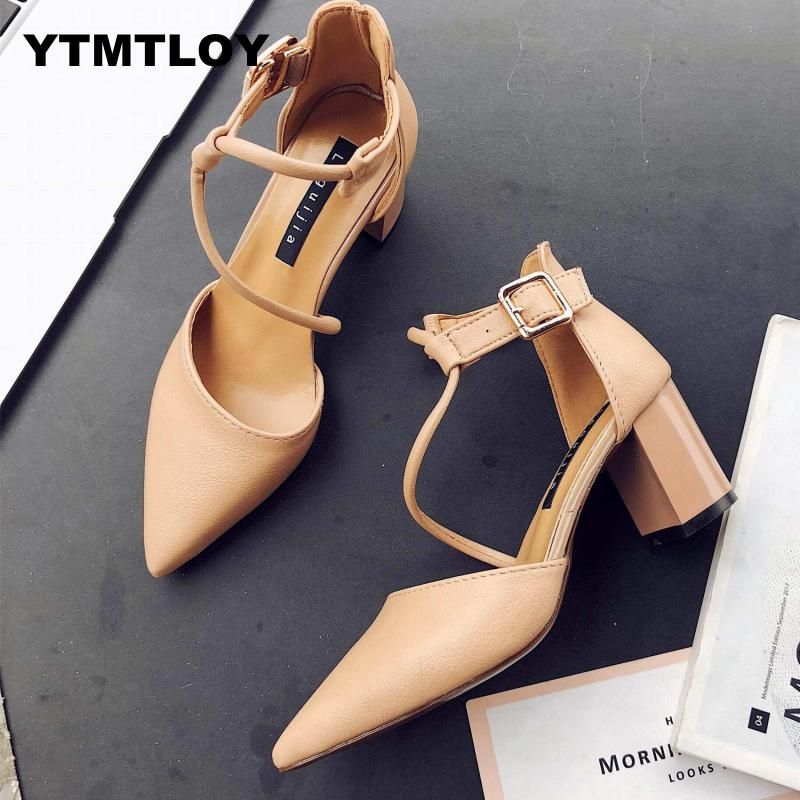 2019 New Hot Summer Women Shoes Pointed Toe Pumps Dress High Heels Boat Wedding Tenis Feminino  Zapatos De Mujer  Cross-tied