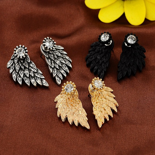 Gothic Silver Black Feather Earrings for Women 3