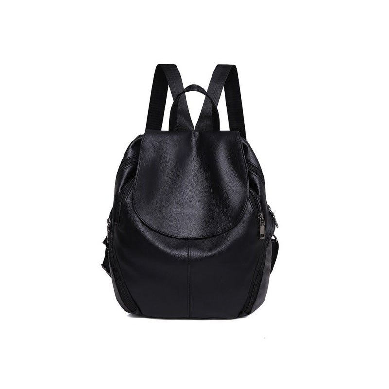 New Fashion Women Backpack Ladies PU Leather Backpacks Solid Simple Black Back Bags High Quality School