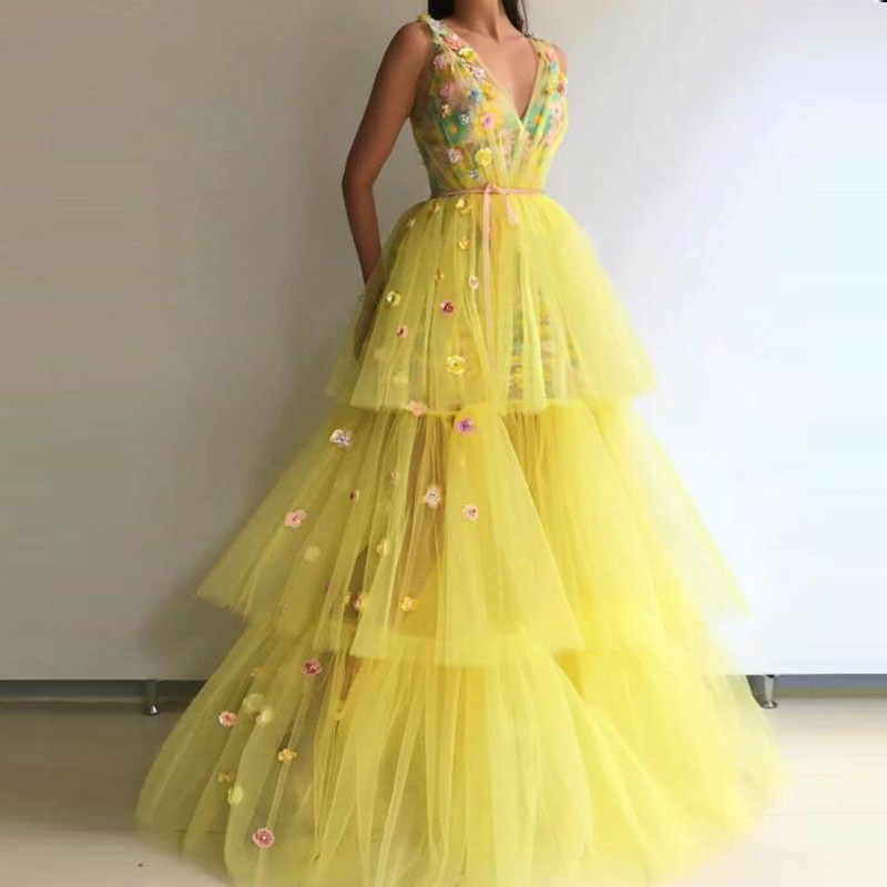 Yellow Tulle Evening Dresses Gorgeous Robe De Soiree Long Evening Gowns V Neck Custom Made Floral Formal Dress Tiered