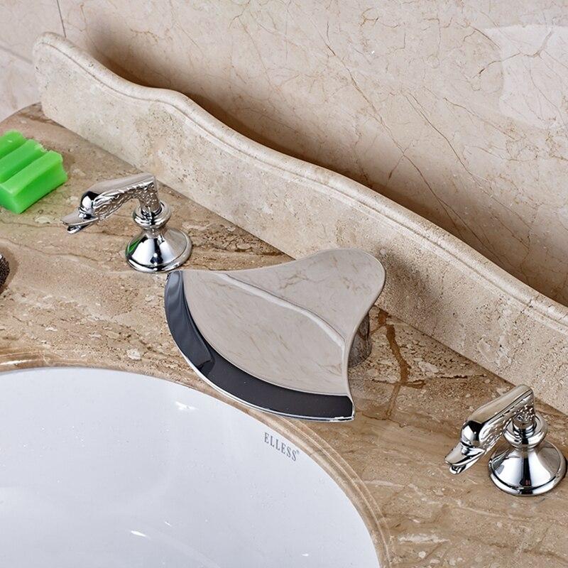 Waterfall Bathroom Basin Faucet Dual Swan Handles Vanity Sink Mixer Tap Chrome декор lord vanity quinta mirabilia grigio 20x56