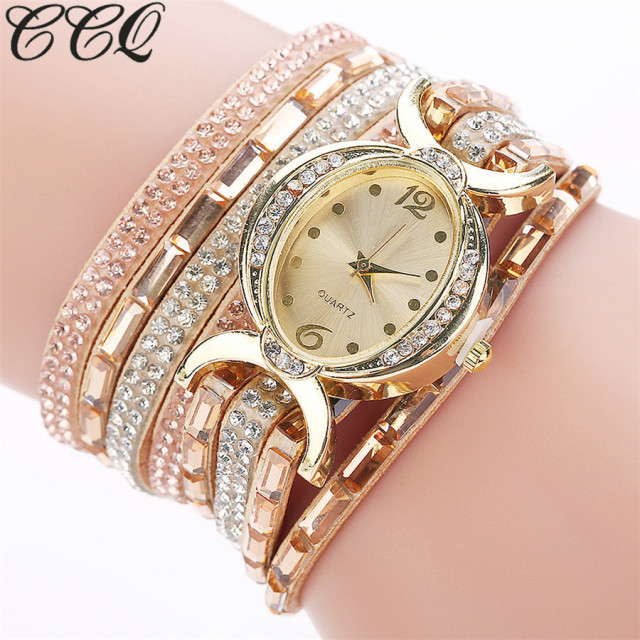 2017 CCQ Brand Fashion Gold Crystal Oval Dial Dress Bracelet Watch Casual Women