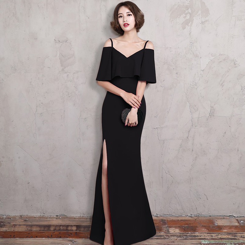 2019 Long Hot V Neck Mermaid   Evening     Dress   Sexy Party   Dress   Lace Mid Sleeve Front Split Open Back Formal Gowns Vestido de noche