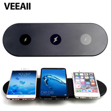 VEEAII Hot sale  Qi Wireless Charger 3 coils triple zones fast charging 9V1A low temperature iPhoneX 8 sharing technology