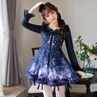 Princess sweet lolita dress Candy rain original autumn women's wear Princess lotus leaf long sleeve printed dress C22CD7215