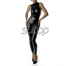 Suitop 0.4mm latex rubber handmade jumpsuit with gloves