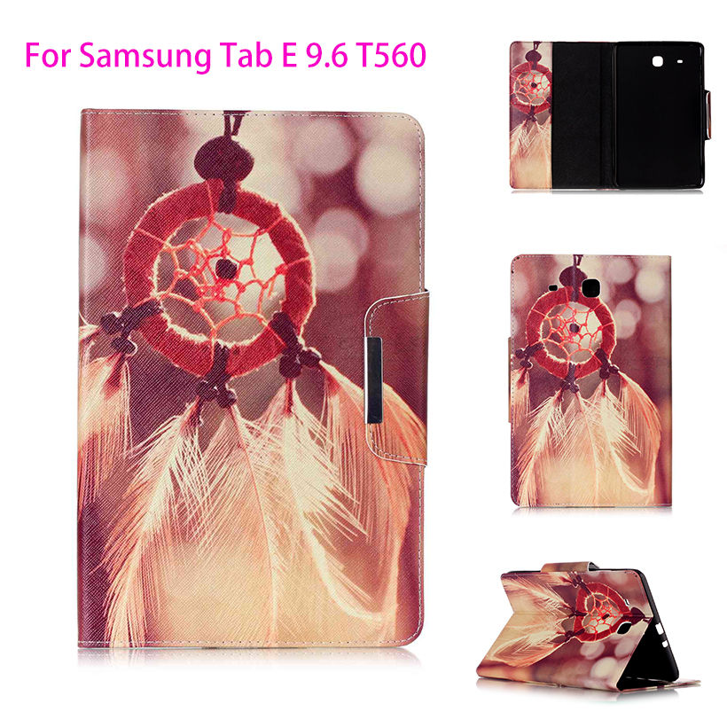 Painted Flip Leather Case For Samsung Galaxy Tab E 9.6 T560 T561 SM-T560 9.6 inch Back Covers tablet Flowers Card Shell Housing аксессуар чехол samsung galaxy tab a 7 sm t285 sm t280 it baggage мультистенд black itssgta74 1