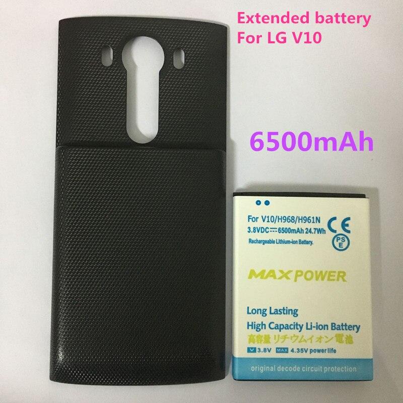 imágenes para Nueva alta calidad bl-45b1f 6500 mah amplió la batería + cubierta de la puerta negro para lg v10 h968 h961n h900 batería