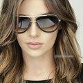2017 nova Big Quadro Piloto óculos de Sol Das Mulheres Designer De Marca De Metal Retro Óculos de sol para As Mulheres Homens Gafas Oculos de sol Feminino Senhoras