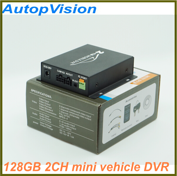 ФОТО Realtime SD 128GB Card Recording Mobile Bus Vehicle Truck Car DVR Recorder System 2ch Audio with Lock Security CCTV 2CH DVR