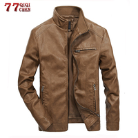 Motorcycle PU Leather Jacket Men Spring Autumn Stand Collar Casual Slim Fit Coat Vintage 5XL Bomber Faux Leather Jackets Men
